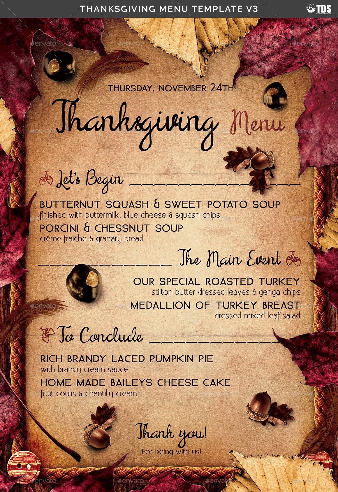 Thanksgiving Dinner Menu Template Unique Thanksgiving Menu Template V3 by Lou606