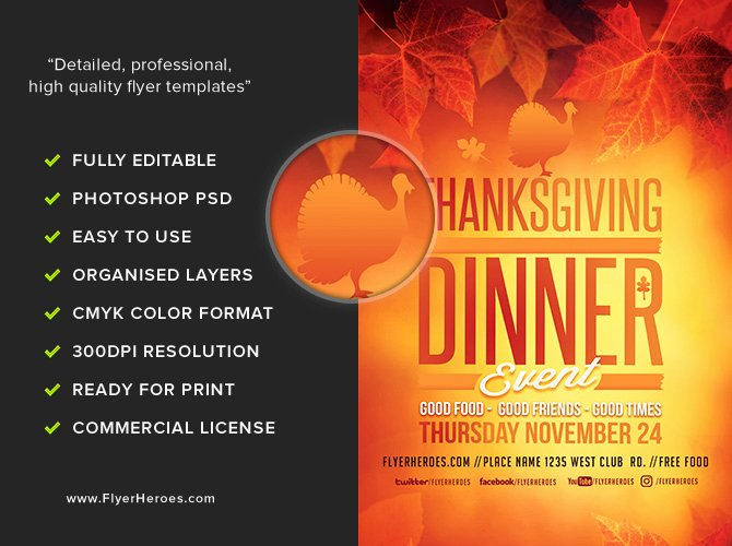Thanksgiving Flyer Template Free Awesome Thanksgiving Dinner event Flyer Template Flyerheroes