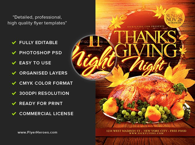 Thanksgiving Flyer Template Free Beautiful Thanksgiving Night Flyer Template Flyerheroes