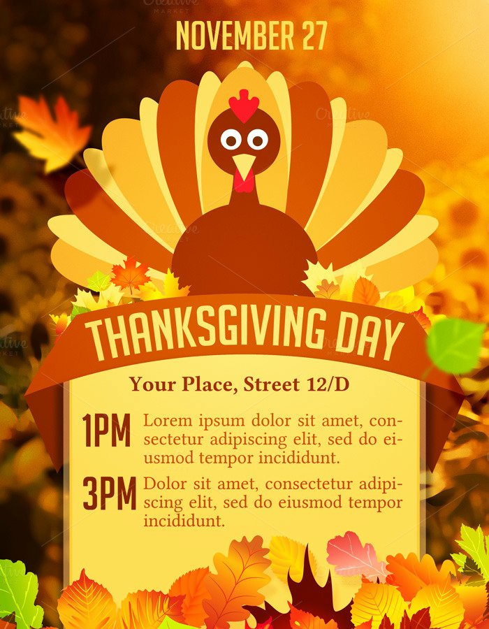 Thanksgiving Flyer Template Free Best Of Thanksgiving Day Flyer Flyer Templates On Creative Market