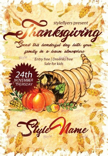 Thanksgiving Flyer Template Free Elegant Thanksgiving Psd Flyer Template Styleflyers