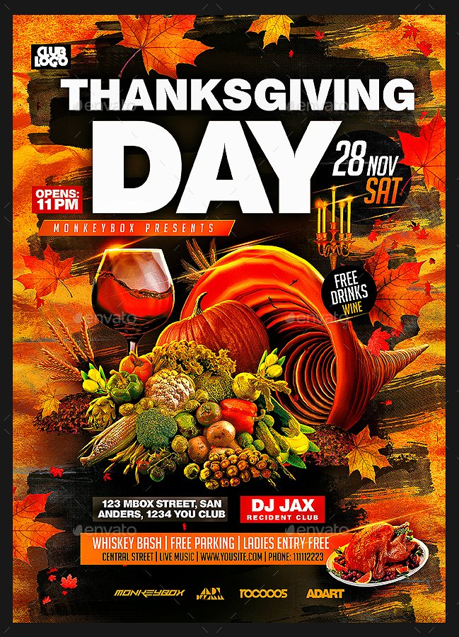 Thanksgiving Flyer Template Free Fresh Thanksgiving Day Flyer Template by Monkeybox
