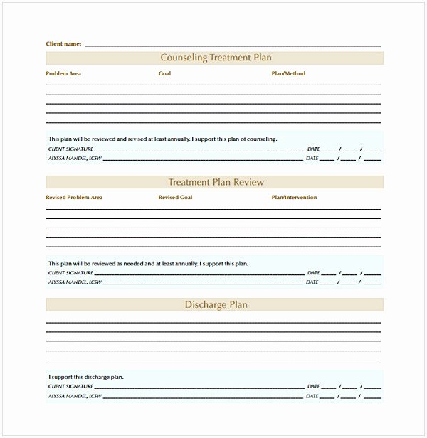 Therapist Treatment Plan Template Awesome Counseling Treatment Plan Template Pdf
