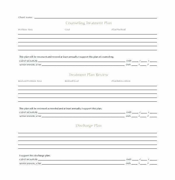 Therapist Treatment Plan Template Inspirational therapy Progress Note Template Free Elegant Mental Health