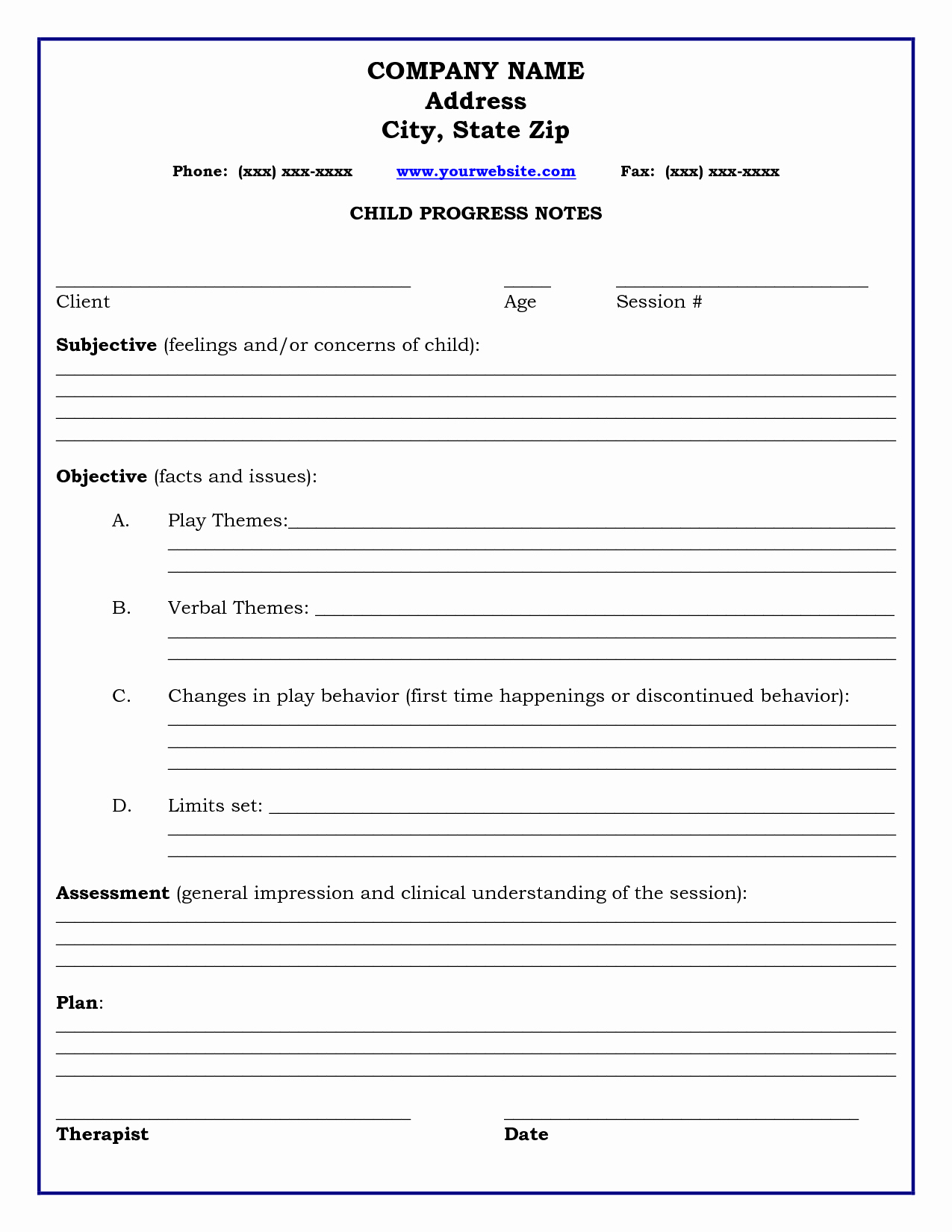 Therapy Progress Notes Template Inspirational therapy Progress Note Template