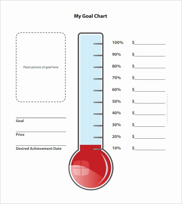 Thermometer Goal Chart Template Unique Goal thermometer Template Excel