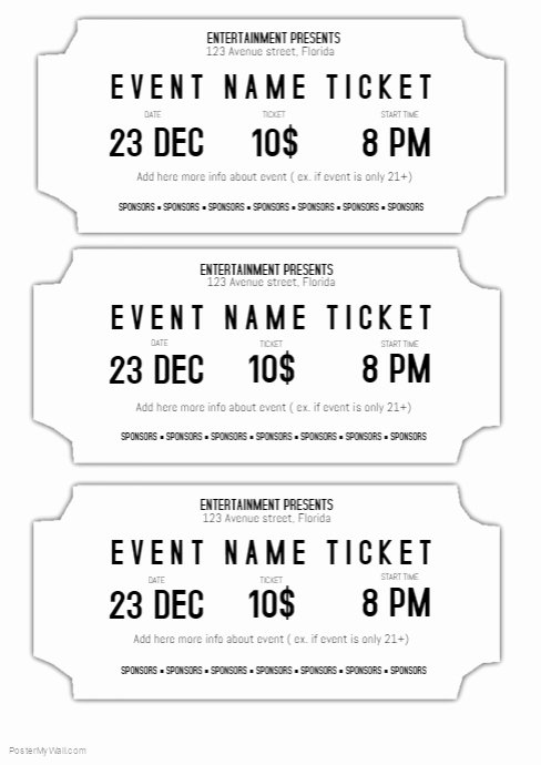 Ticket Maker Template Free Awesome event Ticket Template Black and White Printable