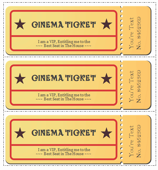 Ticket Maker Template Free Best Of 6 Movie Ticket Templates to Design Customized Tickets