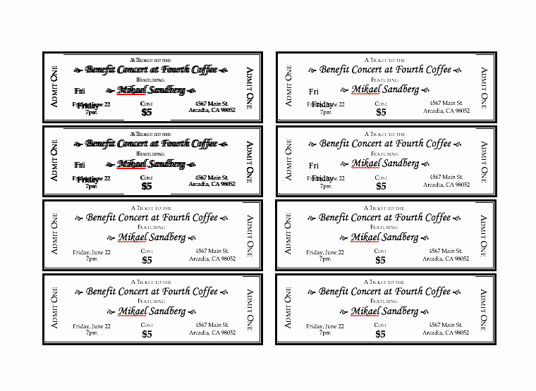 Ticket Template for Word Inspirational event Ticket Template Free Word