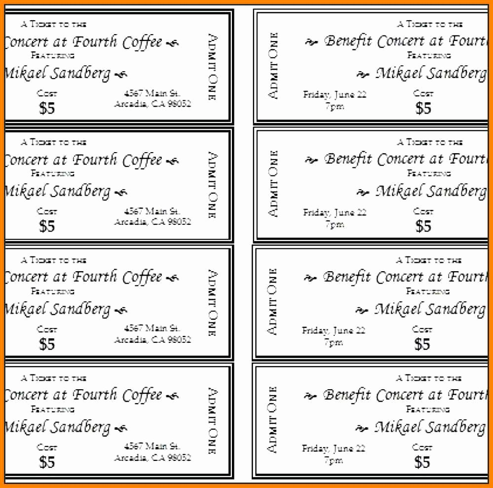 Ticket Template for Word Luxury event Ticket Template Word event Tickets Template Word