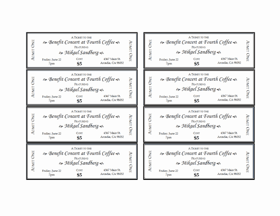 Ticket Template Microsoft Word Beautiful event Tickets