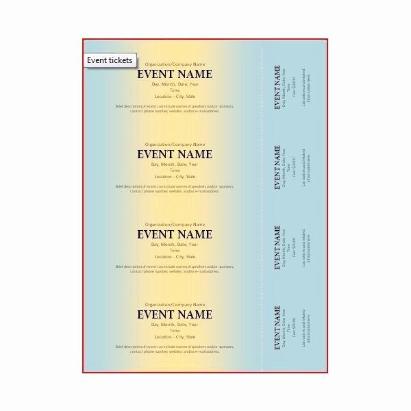 Ticket Template Microsoft Word Best Of event Ticket Microsoft Fice Lots Of Templates Here