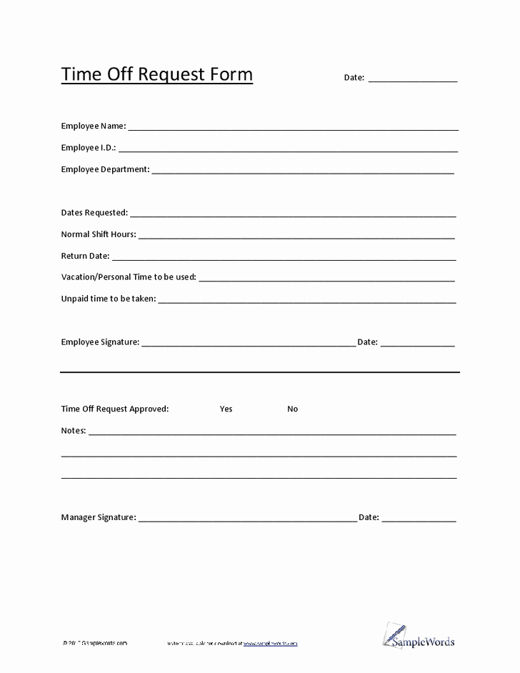 Time Off Request Template Awesome 4 Time F Request form Templates Excel Xlts