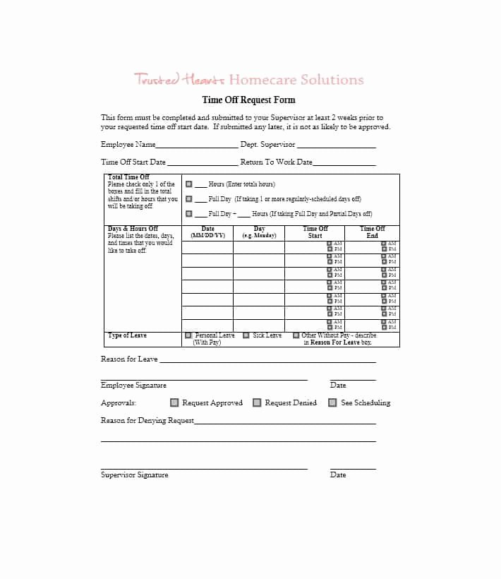 Time Off Request Template Elegant 40 Effective Time F Request forms & Templates