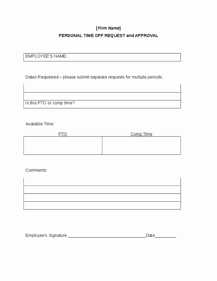 Time Off Request Template Fresh 6 Time F Request forms Word Excel Templates