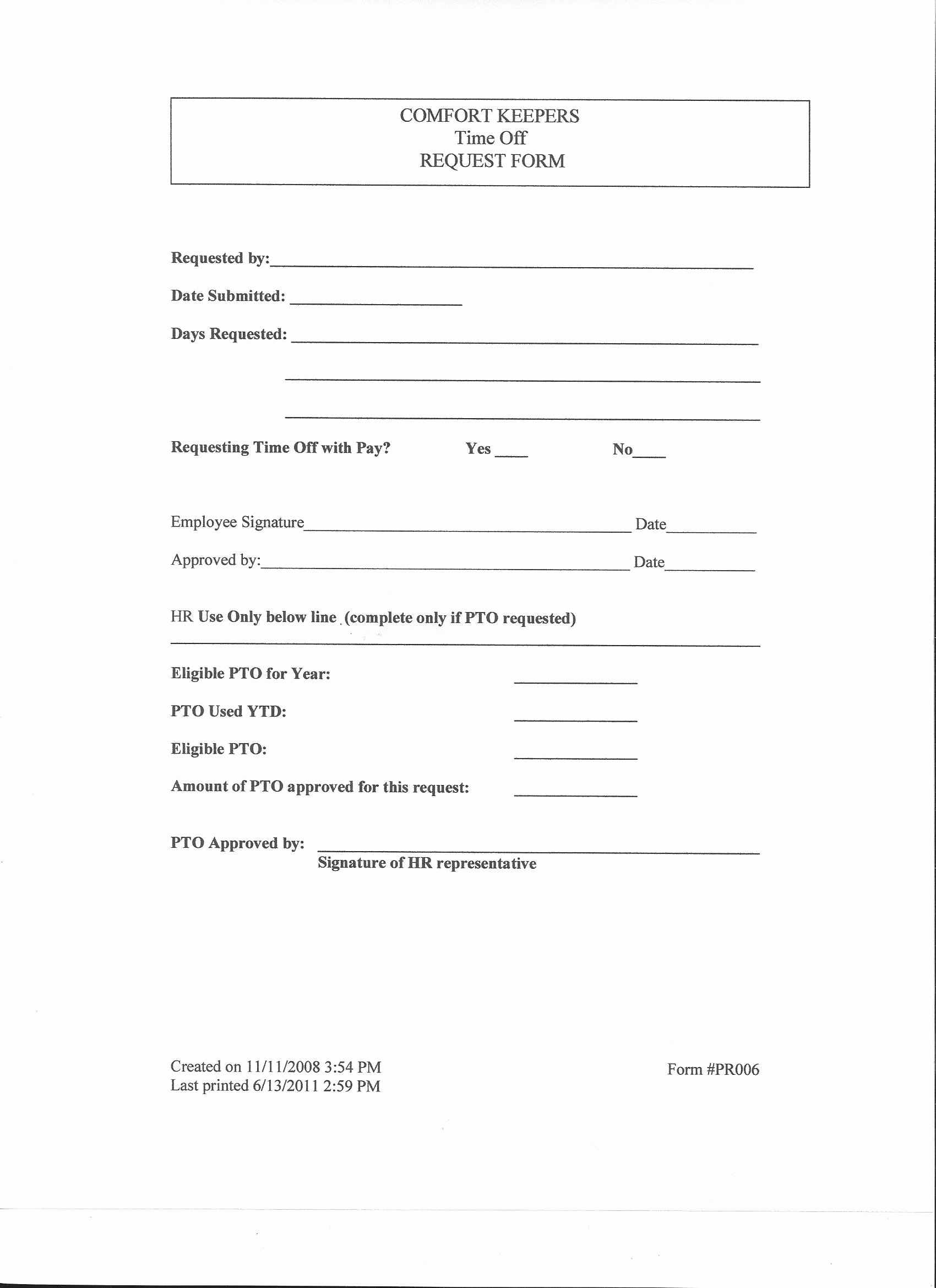 Time Off Request Template Fresh form Time F Request form