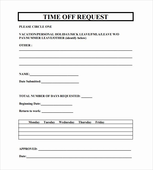 Time Off Request Template Inspirational 24 Time F Request forms to Download