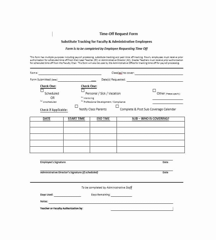 Time Off Request Template Lovely 40 Effective Time F Request forms & Templates