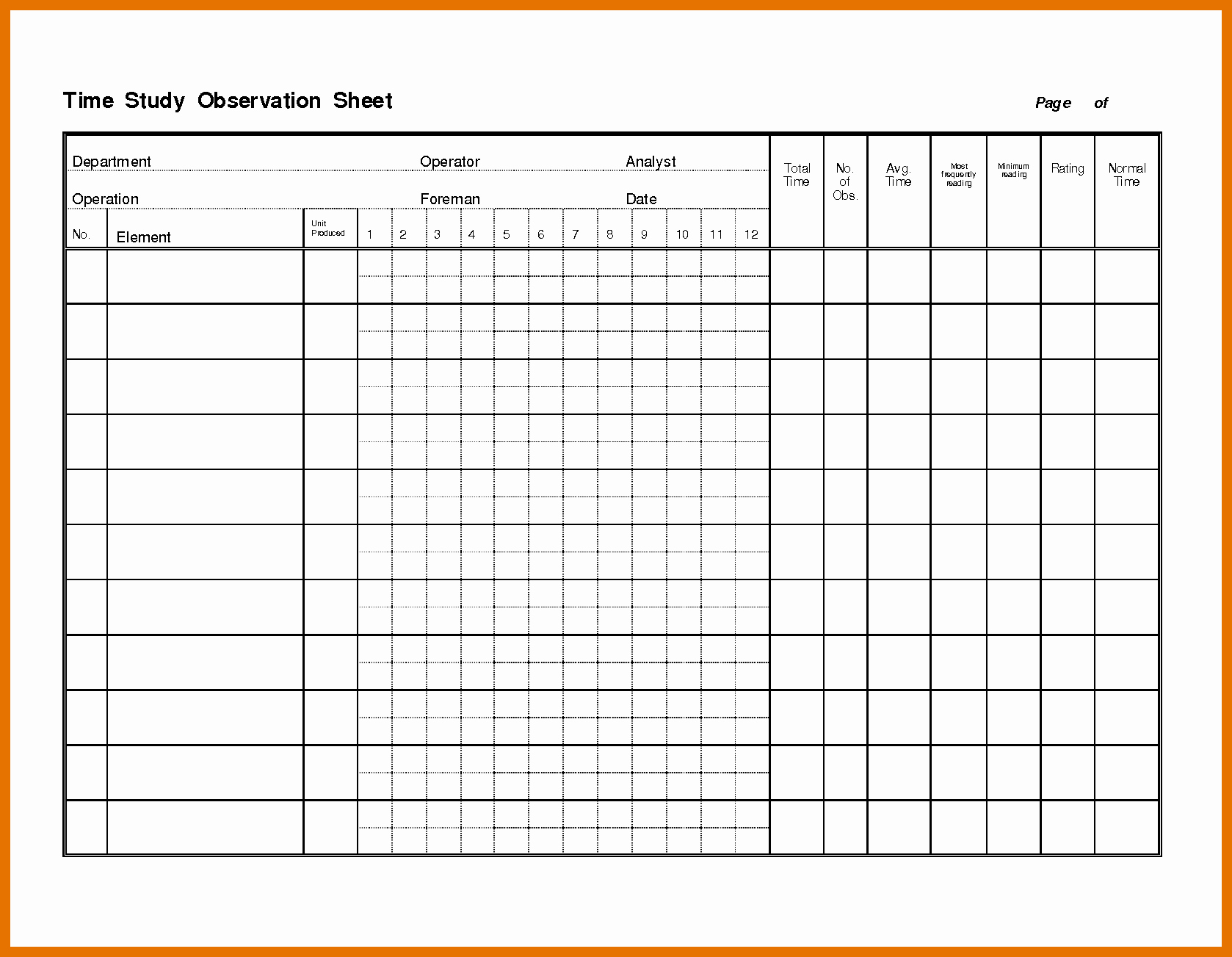 Time Study Template Excel Fresh 6 7 Time Study Template