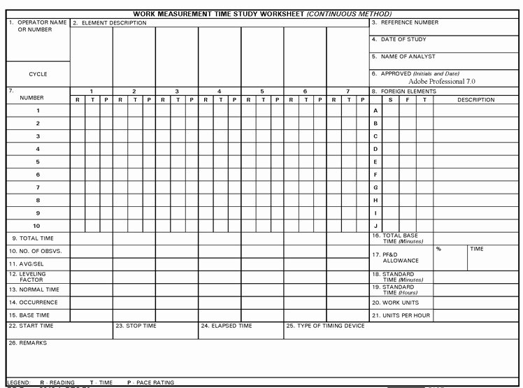 Time Study Template Excel Luxury 9 Best Of Time Study Worksheet Time Management