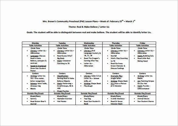 Toddler Lesson Plan Template Elegant Preschool Lesson Plan Template 11 Free Pdf Word format