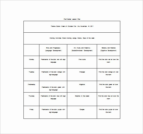 Toddler Lesson Plan Template Lovely 8 toddler Lesson Plan Templates Pdf Word Excel