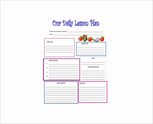 Toddler Lesson Plan Template Lovely Daily Lesson Plan Template 14 Free Pdf Word format