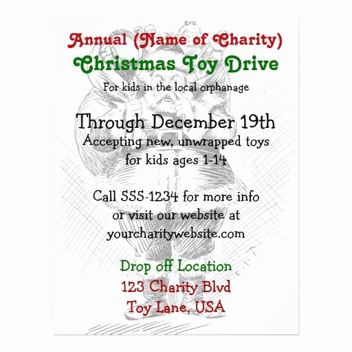 Toy Drive Flyer Template Best Of Charity Annual Christmas toy Drive Santa Claus Flyer