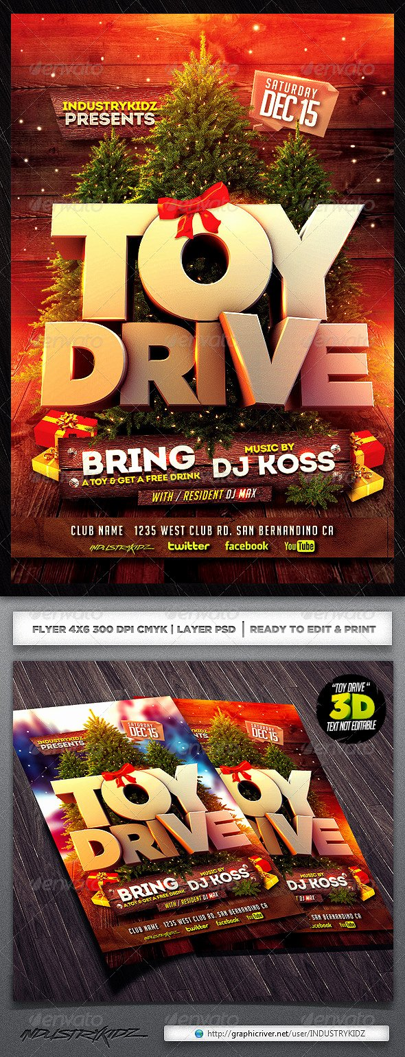 Toy Drive Flyer Template Lovely Editable toy Drive Posters Dondrup