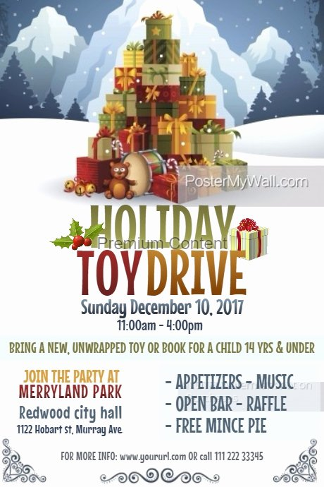 Toy Drive Flyer Template Luxury Holiday toy Drive Poster Template