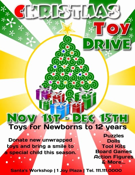 Toy Drive Flyer Template New Free Christmas toy Drive Flyer Template to