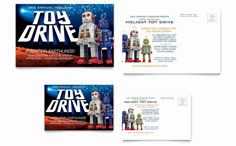 Toy Drive Flyer Template Unique Holiday toy Drive Fundraiser Postcard Template Word