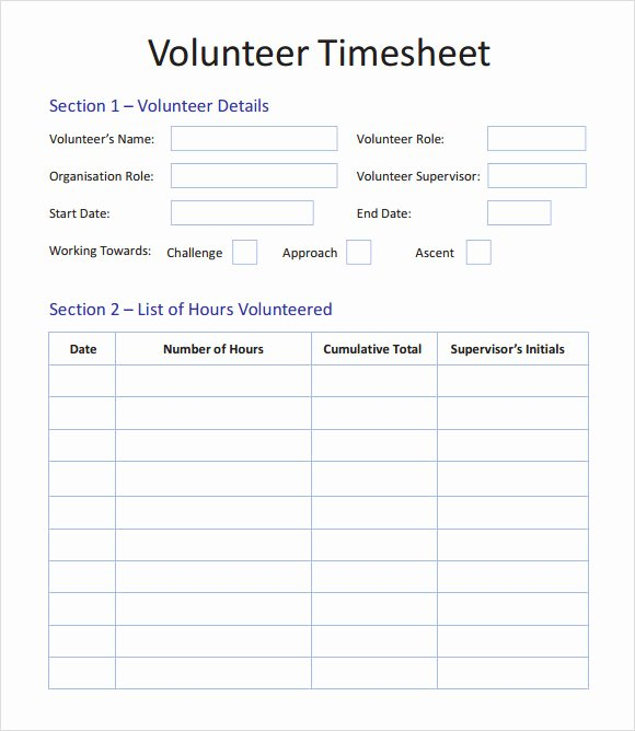 Tracking Volunteer Hours Template Awesome 11 Volunteer Timesheet Samples