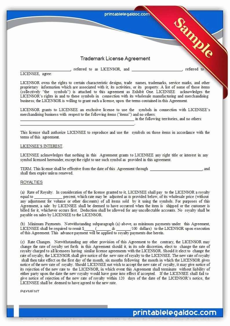 Trademark License Agreement Template Best Of Elegant Free Legal Documents Templates