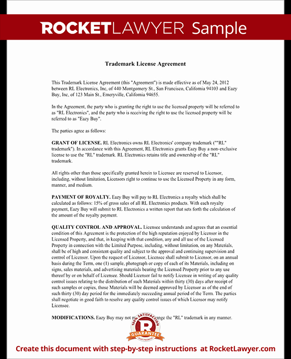 Trademark License Agreement Template Best Of Trademark License Agreement form Create A Template with