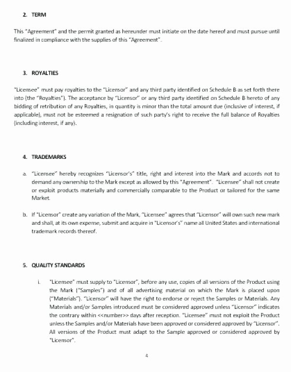 Trademark License Agreement Template Best Of Trademark Template