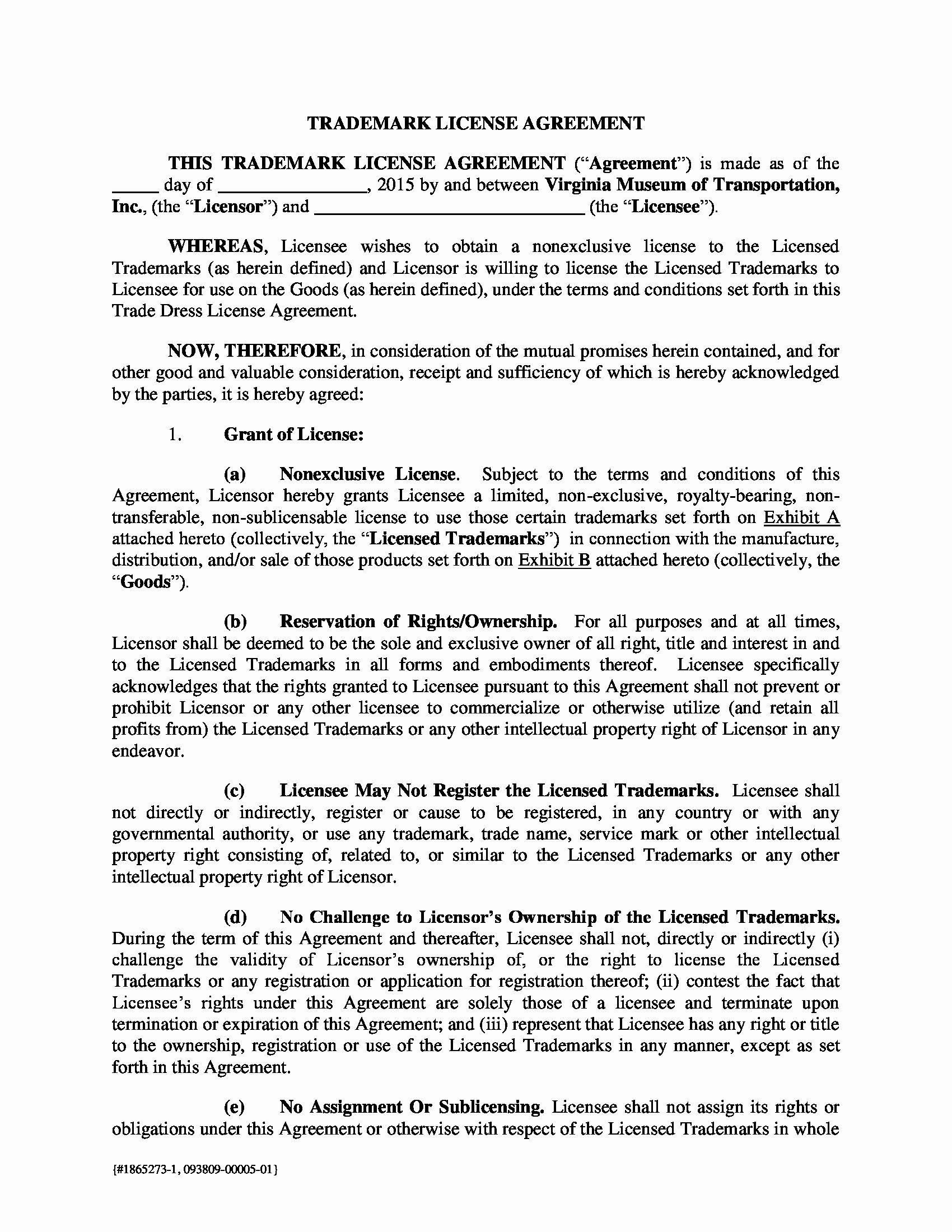 Trademark License Agreement Template Fresh 13 Trademark License Agreement forms Pdf Doc