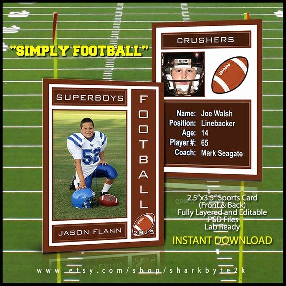 Trading Card Template Photoshop Best Of 2017 Football Sports Trading Card Template for Shop