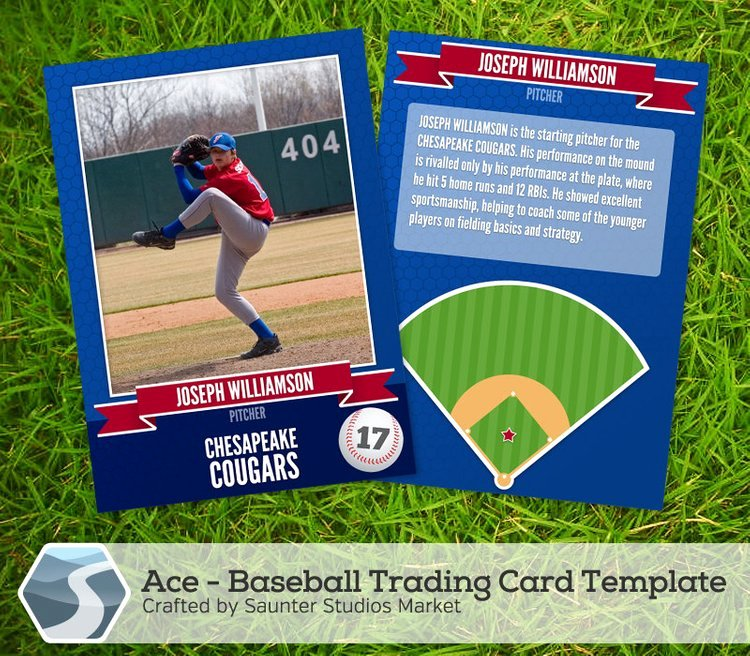 Trading Card Template Photoshop Elegant Ace Baseball Trading Card 2 5 X 3 5 Shop by