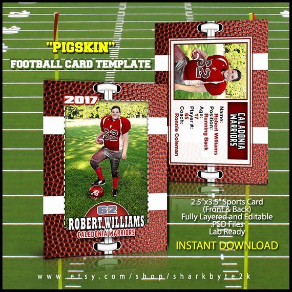 Trading Card Template Photoshop Lovely Shop Football Card Template Great for Sports Team and