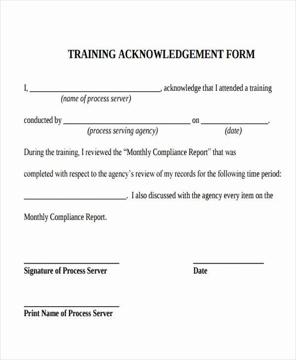 Training Acknowledgement form Template Awesome Training Acknowledgement Letter Templates 8 Free Word