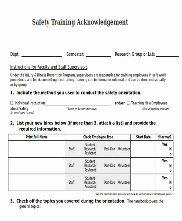 Training Acknowledgement form Template Elegant Training Acknowledgement Letter Templates 8 Free Word