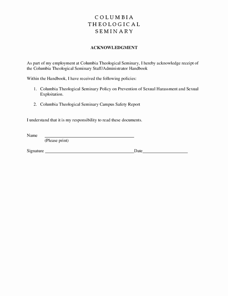 9 images of harassment policy acknowledgement form template 2149