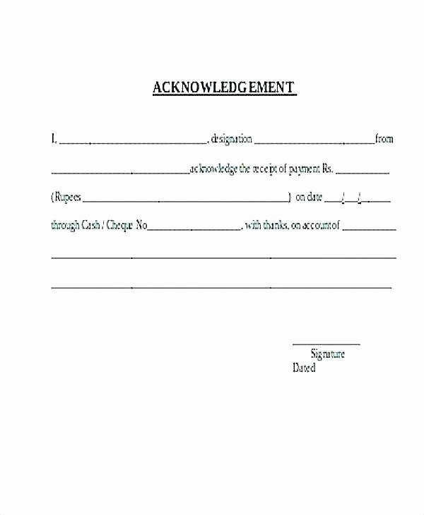 Training Acknowledgement form Template Fresh Employee Acknowledgement form Template Employee