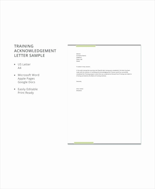 Training Acknowledgement form Template Inspirational Training Acknowledgement Letter Templates 8 Free Word