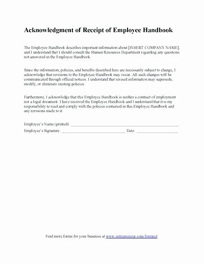 Training Acknowledgement form Template Lovely Employee Acknowledgement form Template Employee
