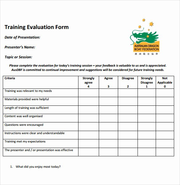 Training Evaluation forms Template Awesome 30 Perfect forms for Training Evaluation Templates Clasmed