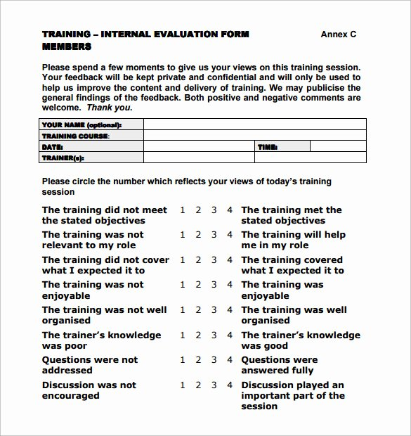 Training Evaluation forms Template Beautiful Training Evaluation form 7 Samples Examples & format