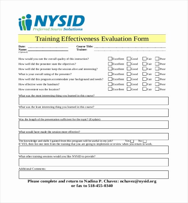 Training Evaluation forms Template Lovely 19 Sample Training Evaluation forms