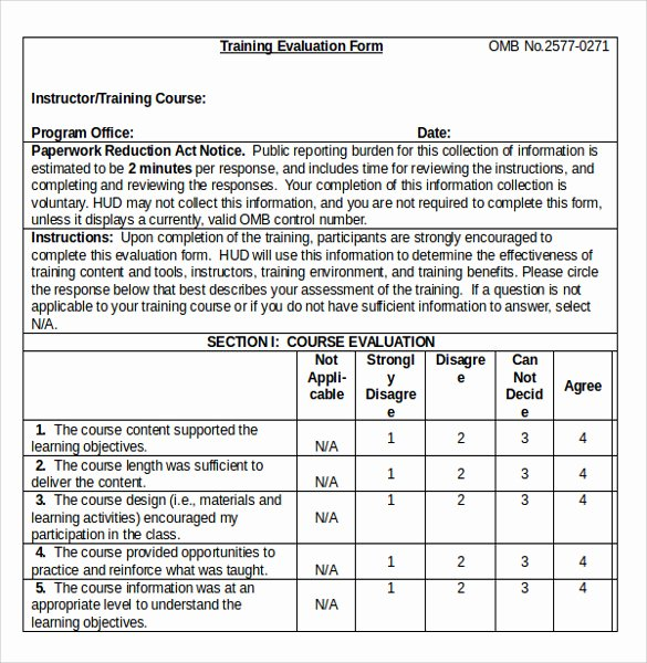 Training Evaluation forms Template Lovely Training Evaluation form 7 Samples Examples & format